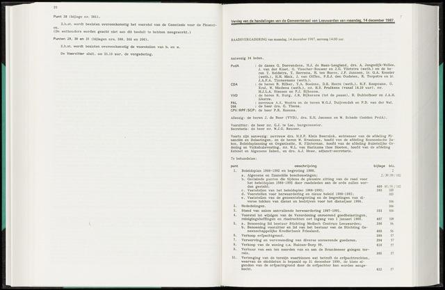 Raadsverslagen van de gemeente Leeuwarden, 1865-2007 (Notulen) 1987-12-14