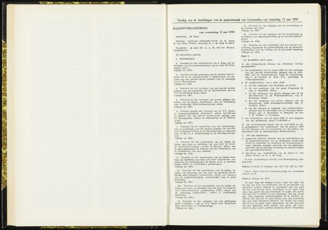 Raadsverslagen van de gemeente Leeuwarden, 1865-2007 (Notulen) 1959-05-13