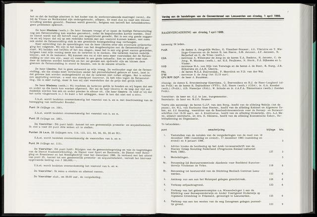 Raadsverslagen van de gemeente Leeuwarden, 1865-2007 (Notulen) 1986-04-01