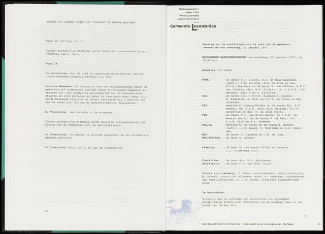 Raadsverslagen van de gemeente Leeuwarden, 1865-2007 (Notulen) 1997-01-22