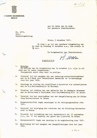 raadsverslagen Idaarderadeel 1935-1983 1961-12-12