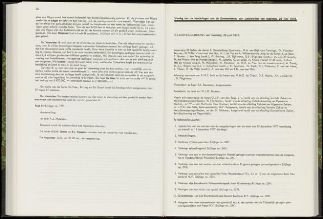 Raadsverslagen van de gemeente Leeuwarden, 1865-2007 (Notulen) 1978-06-26