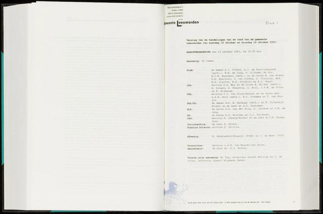 Raadsverslagen van de gemeente Leeuwarden, 1865-2007 (Notulen) 2001-10-15