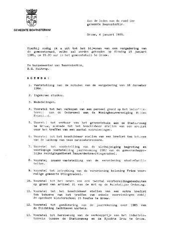 Boarnsterhim vergaderstukken gemeenteraad  1985-01-15