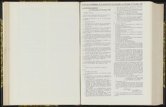 Raadsverslagen van de gemeente Leeuwarden, 1865-2007 (Notulen) 1953-11-25