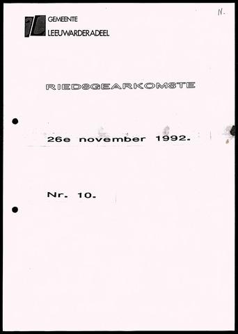 Notulen van de gemeenteraad van Leeuwarderadeel 1992-11-26