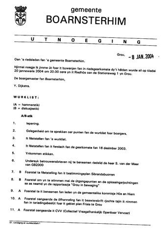 Boarnsterhim vergaderstukken gemeenteraad  2004-01-20