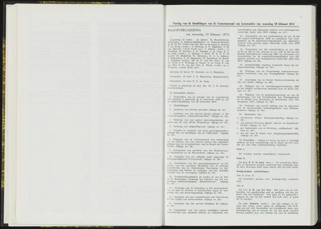Raadsverslagen van de gemeente Leeuwarden, 1865-2007 (Notulen) 1973-02-19