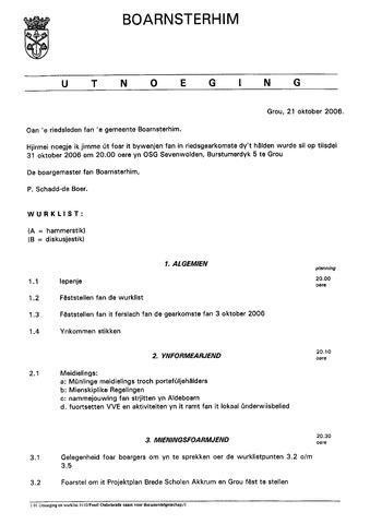 Boarnsterhim vergaderstukken gemeenteraad  2006-10-31