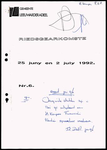 Notulen van de gemeenteraad van Leeuwarderadeel 1992-06-25