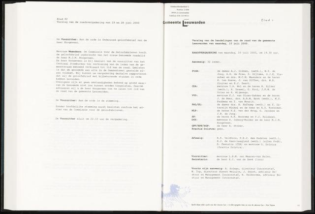 Raadsverslagen van de gemeente Leeuwarden, 1865-2007 (Notulen) 2000-07-10