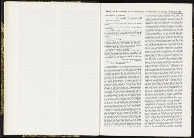 Raadsverslagen van de gemeente Leeuwarden, 1865-2007 (Notulen) 1966-02-28