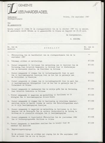 Notulen van de gemeenteraad van Leeuwarderadeel 1987-10-01