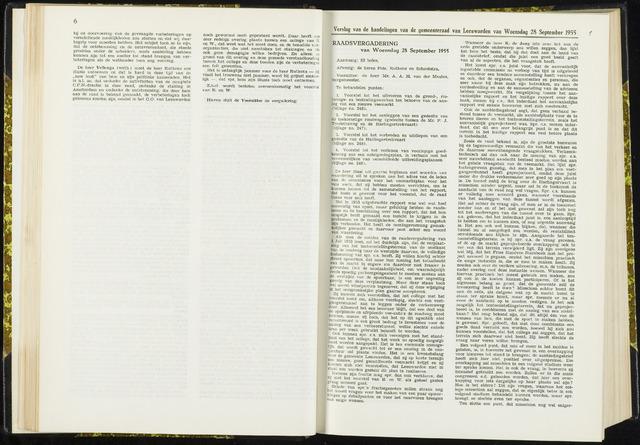 Raadsverslagen van de gemeente Leeuwarden, 1865-2007 (Notulen) 1955-09-28