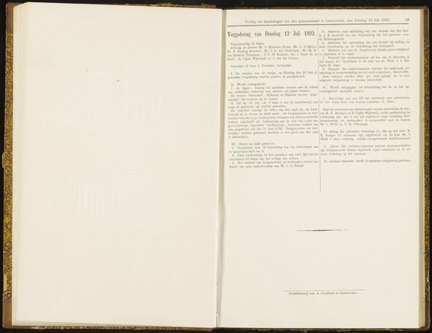 Raadsverslagen van de gemeente Leeuwarden, 1865-2007 (Notulen) 1892-07-12