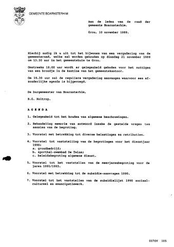 Boarnsterhim vergaderstukken gemeenteraad  1989-11-21