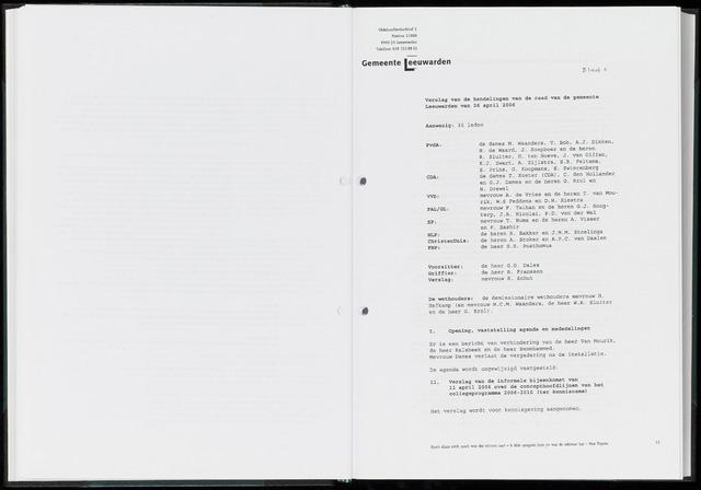Raadsverslagen van de gemeente Leeuwarden, 1865-2007 (Notulen) 2006-04-26