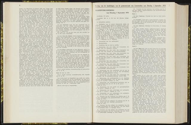 Raadsverslagen van de gemeente Leeuwarden, 1865-2007 (Notulen) 1953-09-01