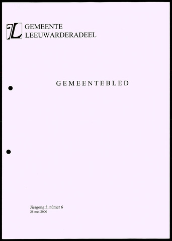 Notulen van de gemeenteraad van Leeuwarderadeel 2000-05-25