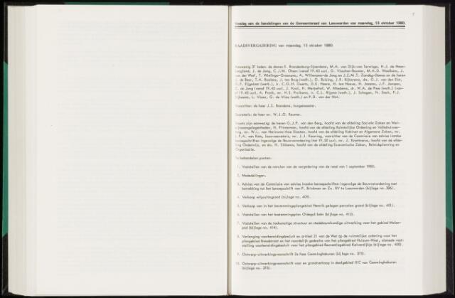 Raadsverslagen van de gemeente Leeuwarden, 1865-2007 (Notulen) 1980-10-13