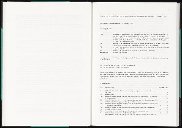 Raadsverslagen van de gemeente Leeuwarden, 1865-2007 (Notulen) 1990-01-29