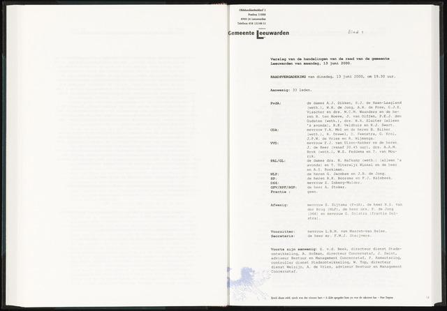 Raadsverslagen van de gemeente Leeuwarden, 1865-2007 (Notulen) 2000-06-13