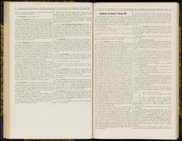Raadsverslagen van de gemeente Leeuwarden, 1865-2007 (Notulen) 1916-02-22