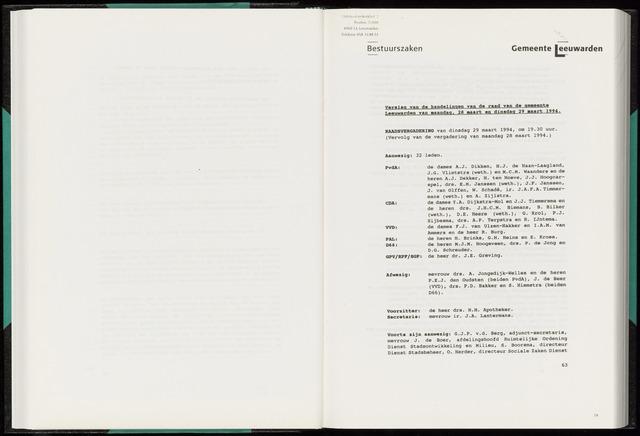 Raadsverslagen van de gemeente Leeuwarden, 1865-2007 (Notulen) 1994-03-29