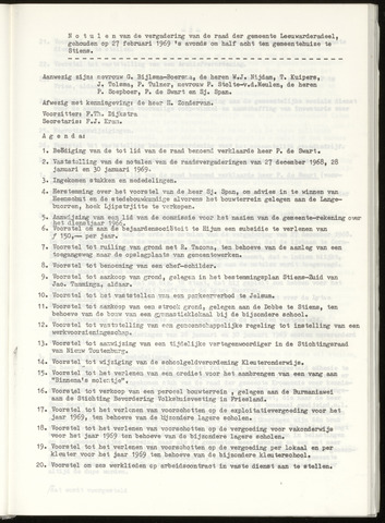 Notulen van de gemeenteraad van Leeuwarderadeel 1969-02-27