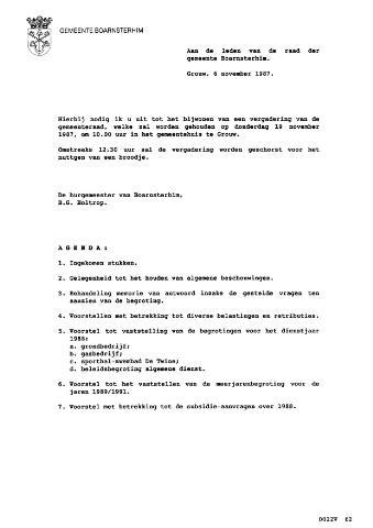 Boarnsterhim vergaderstukken gemeenteraad  1987-11-19