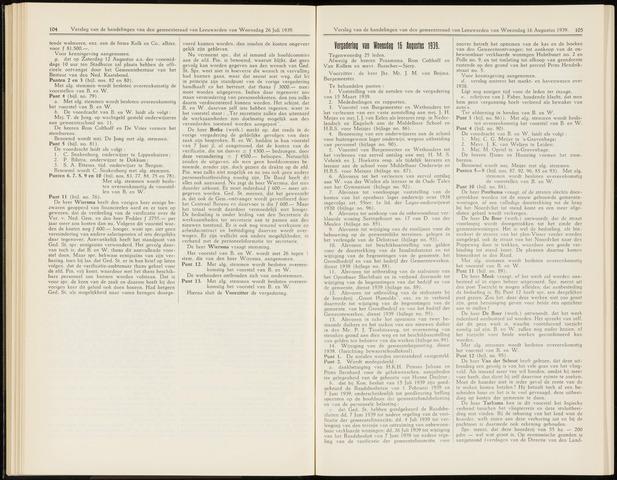 Raadsverslagen van de gemeente Leeuwarden, 1865-2007 (Notulen) 1939-08-16
