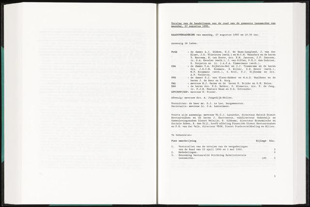 Raadsverslagen van de gemeente Leeuwarden, 1865-2007 (Notulen) 1990-08-27