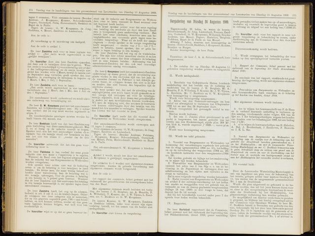 Raadsverslagen van de gemeente Leeuwarden, 1865-2007 (Notulen) 1909-08-24