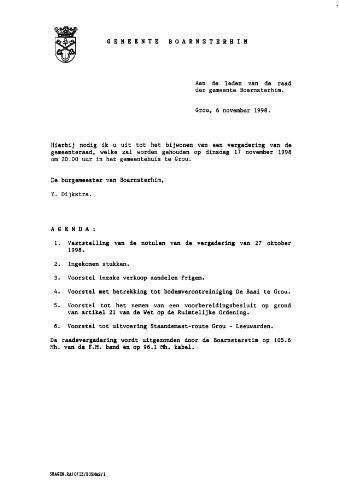Boarnsterhim vergaderstukken gemeenteraad  1998-11-17