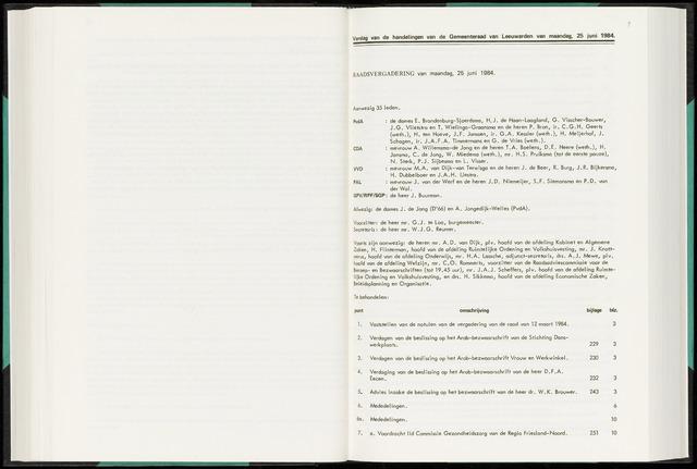 Raadsverslagen van de gemeente Leeuwarden, 1865-2007 (Notulen) 1984-06-25