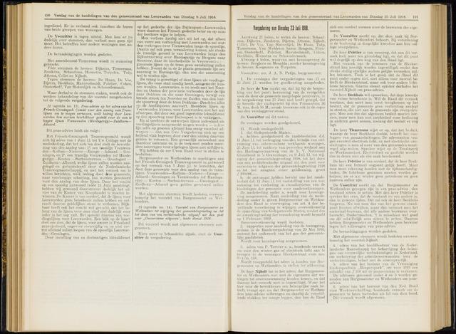 Raadsverslagen van de gemeente Leeuwarden, 1865-2007 (Notulen) 1918-07-23