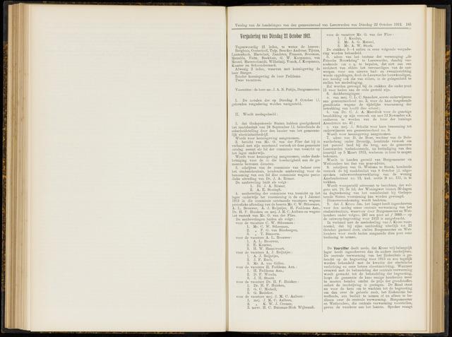 Raadsverslagen van de gemeente Leeuwarden, 1865-2007 (Notulen) 1912-10-22