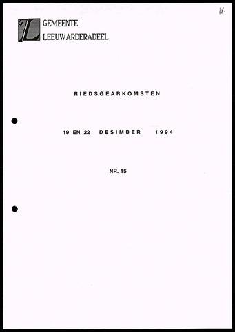 Notulen van de gemeenteraad van Leeuwarderadeel 1994-12-19