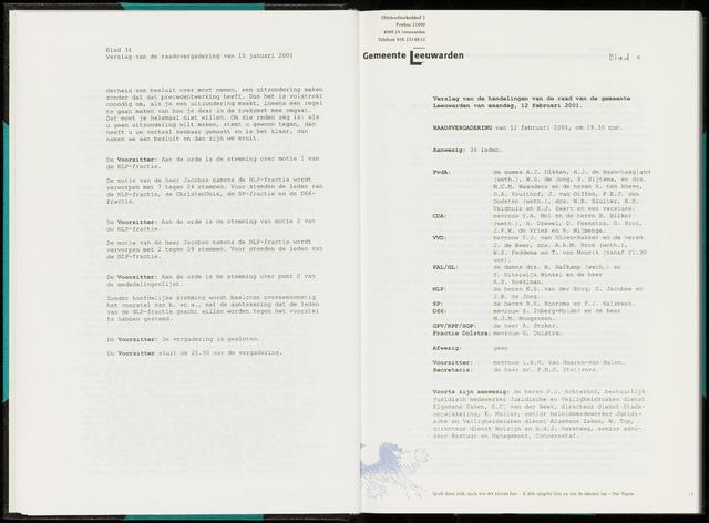 Raadsverslagen van de gemeente Leeuwarden, 1865-2007 (Notulen) 2001-02-12