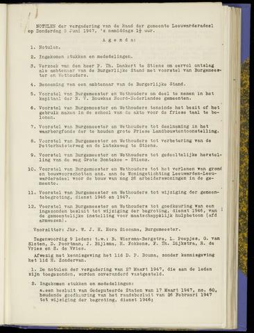 Notulen van de gemeenteraad van Leeuwarderadeel 1947-06-05