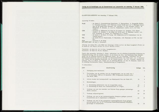 Raadsverslagen van de gemeente Leeuwarden, 1865-2007 (Notulen) 1986-02-17