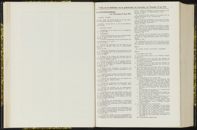 Raadsverslagen van de gemeente Leeuwarden, 1865-2007 (Notulen) 1954-06-23