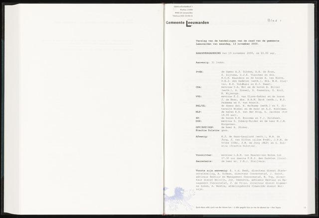 Raadsverslagen van de gemeente Leeuwarden, 1865-2007 (Notulen) 2000-11-13