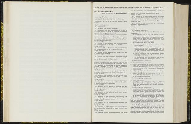 Raadsverslagen van de gemeente Leeuwarden, 1865-2007 (Notulen) 1954-09-15