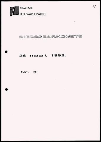 Notulen van de gemeenteraad van Leeuwarderadeel 1992-03-26