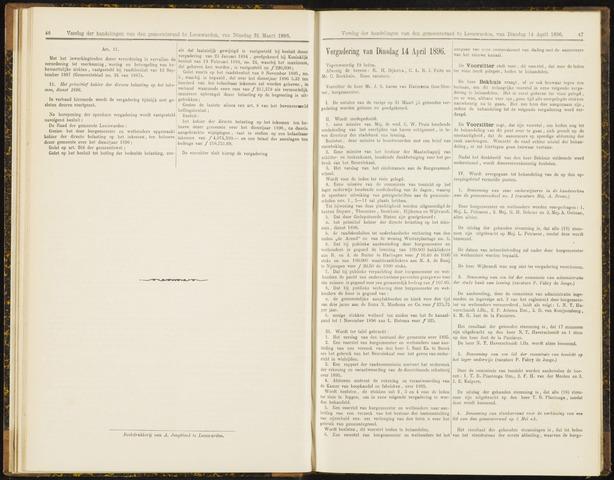 Raadsverslagen van de gemeente Leeuwarden, 1865-2007 (Notulen) 1896-04-14