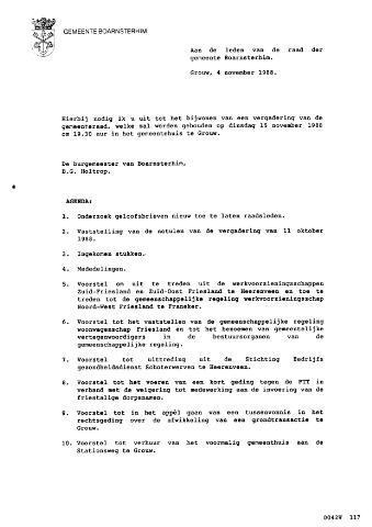 Boarnsterhim vergaderstukken gemeenteraad  1988-11-15