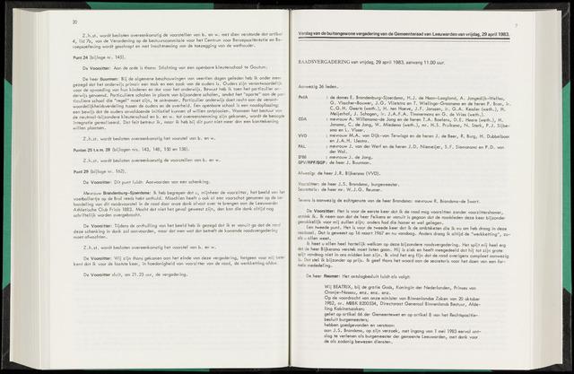 Raadsverslagen van de gemeente Leeuwarden, 1865-2007 (Notulen) 1983-04-29