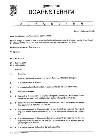 Boarnsterhim vergaderstukken gemeenteraad  2003-10-21