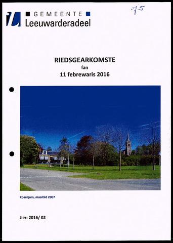 Notulen van de gemeenteraad van Leeuwarderadeel 2016-02-11